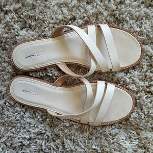 J. Crew flat strappy sandals in white leather, 8